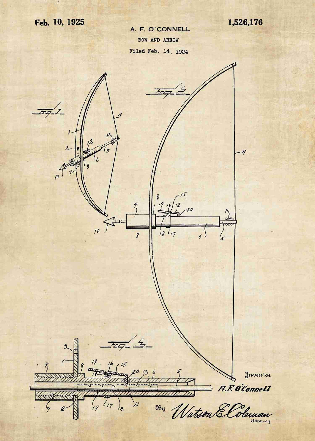 bow and arrow patent print, bow and arrow poster in the style vintage
