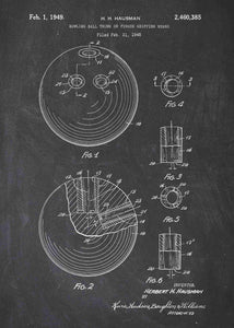 bowling ball patent print, bowling poster shown in the style chalkboard