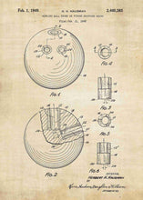 bowling ball patent print, bowling poster shown in the style vintage