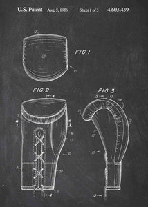 boxing gloves patent print, boxing poster shown in the style chalkboard