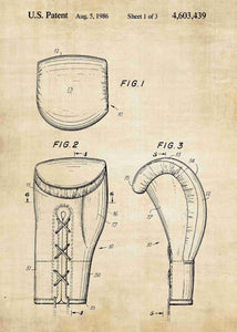 boxing gloves patent print, boxing poster shown in the style vintage