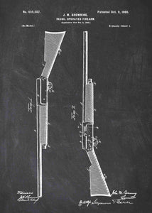 browning semi auto shotgun patent print, browning early semi auto shotgun poste rin the style chalkboard