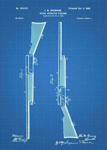 browning semi auto shotgun patent print, browning early semi auto shotgun poste rin the style blueprint