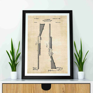 browning semi auto shotgun patent print, browning early semi auto shotgun poste rin the style vintage mockup up in a frame