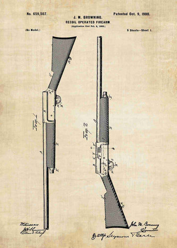 browning semi auto shotgun patent print, browning early semi auto shotgun poste rin the style vintage