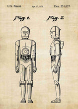 Original C-3PO patent from the first trilogy of the star wars series. This star wars poster is in the style vintage