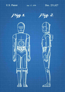 Original C-3PO patent from the first trilogy of the star wars series. This star wars poster is in the style blueprint