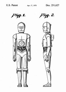 Original C-3PO patent from the first trilogy of the star wars series. This star wars poster is in the style white