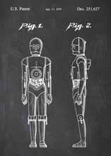 Original C-3PO patent from the first trilogy of the star wars series. This star wars poster is in the style chalkboard