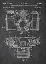 camera patent print, camera poster shown in the style chalkboard