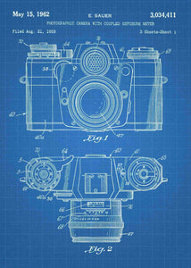 camera patent print, camera poster shown in the style blueprint