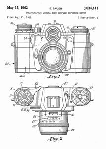 camera patent print, camera poster shown in the style white