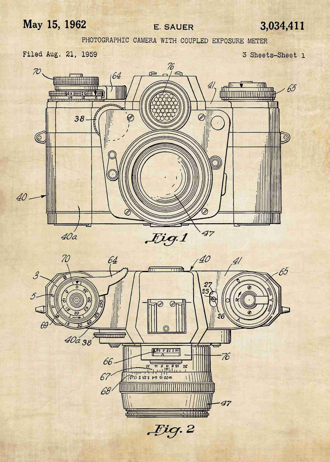 camera patent print, camera poster shown in the style vintage