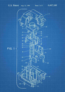 cherry mx mechanical keyboard patent print, cherry mx pc gaming poster shown in the style blueprint