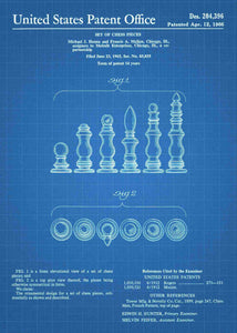 chess pieces patent print, chess poster shown in the style blueprint