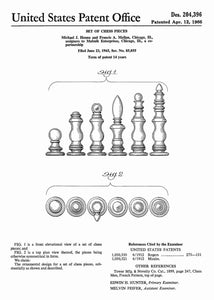 chess pieces patent print, chess poster shown in the style white