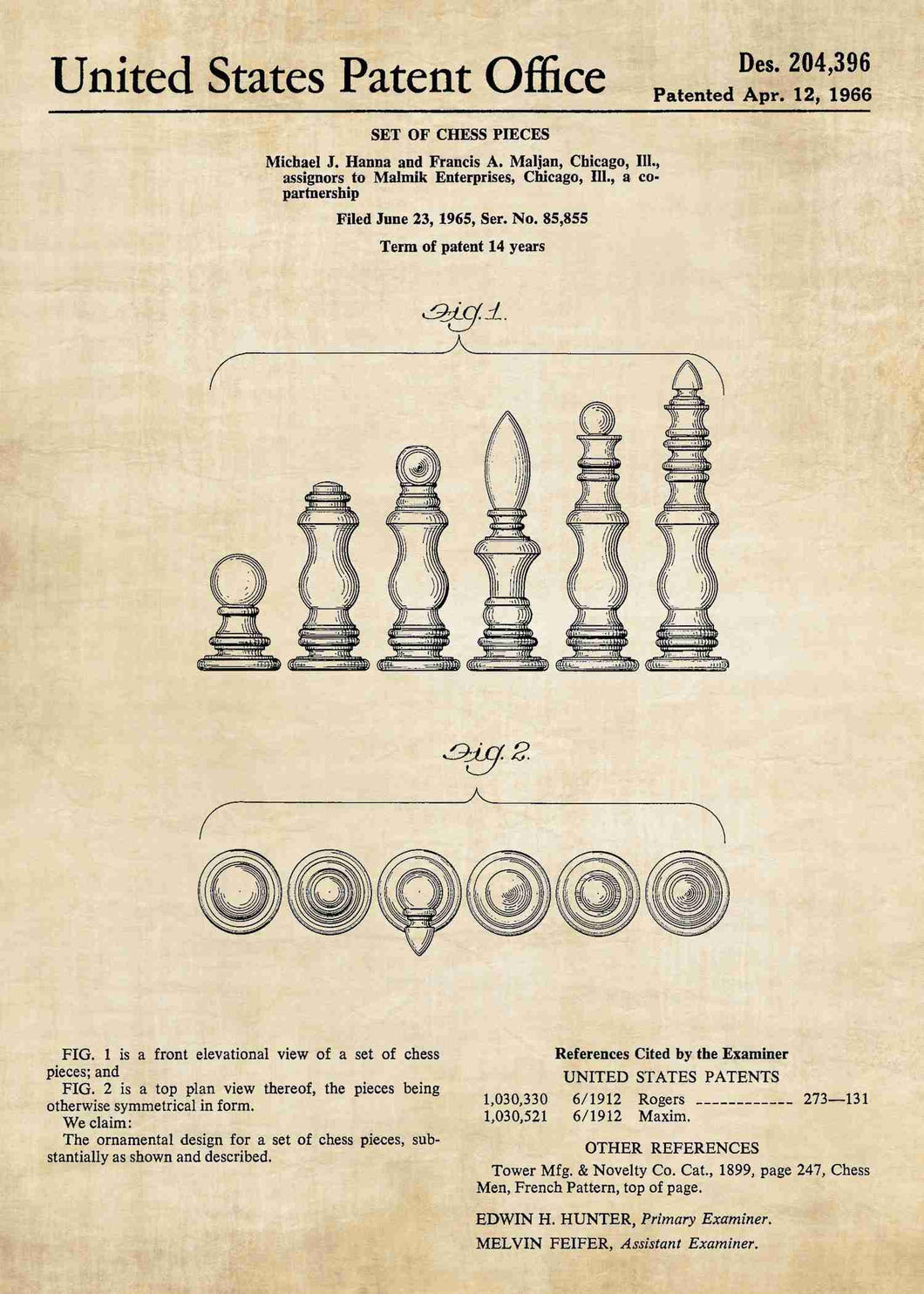 chess pieces patent print, chess poster shown in the style vintage
