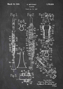 clarinet patent print, clarinet poster shown in the style chalkboard