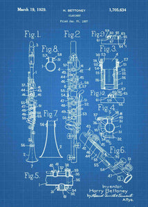 clarinet patent print, clarinet poster shown in the style blueprint
