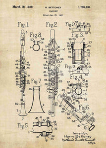 clarinet patent print, clarinet poster shown in the style vintage
