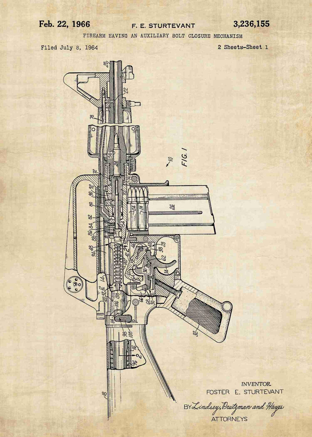 Colt AR-15 Semi Automatic Rifle patent print, Colt AR-15 poster in the style vintage