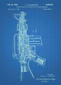 Colt AR-15 Semi Automatic Rifle patent print, Colt AR-15 poster in the style blueprint