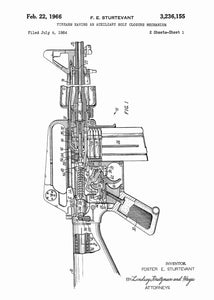 Colt AR-15 Semi Automatic Rifle patent print, Colt AR-15 poster in the style white