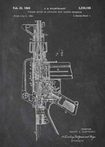 Colt AR-15 Semi Automatic Rifle patent print, Colt AR-15 poster in the style chalkboard