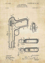 colt 1903 patent print, colt 1903 poster in the style vintage