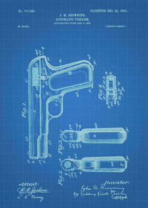 colt 1903 patent print, colt 1903 poster in the style blueprint