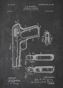 colt 1903 patent print, colt 1903 poster in the style chalkboard