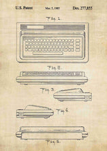 Commodore 64 patent print, retro gaming poster in the style vintage