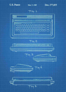 Commodore 64 patent print, retro gaming poster in the style blueprint