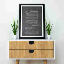 Commodore 64 patent print, retro gaming poster in the style chalkboard mocked up in home decor enviroment