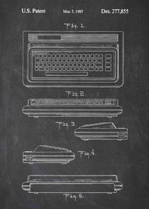 Commodore 64 patent print, retro gaming poster in the style chalkboard