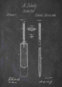 cricket bat patent print, cricket poster shown in the style chalkboard