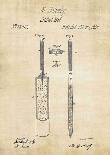 cricket bat patent print, cricket poster shown in the style vintage