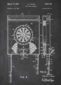 darts dartboard patent print, darts poster shown in the style chalkboard
