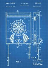 darts dartboard patent print, darts poster shown in the style blueprint