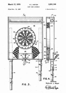 darts dartboard patent print, darts poster shown in the style white