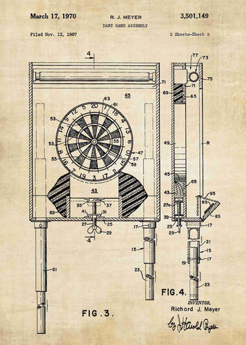 darts dartboard patent print, darts poster shown in the style vintage