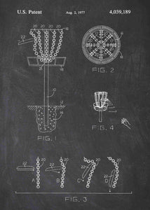 disk golf patent print, disk gold pdga poste rin the style chalkboard