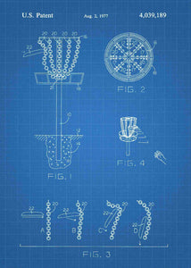 disk golf patent print, disk gold pdga poste rin the style blueprint