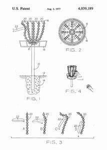 disk golf patent print, disk gold pdga poste rin the style white