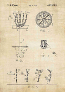 disk golf patent print, disk gold pdga poste rin the style vintage