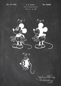 disney's mickey mouse patent print, mickey mouse poster in the style chalkboard