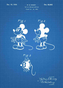disney's mickey mouse patent print, mickey mouse poster in the style blueprint