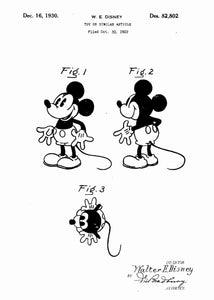 disney's mickey mouse patent print, mickey mouse poster in the style white