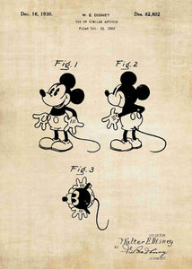 disney's mickey mouse patent print, mickey mouse poster in the style vintage