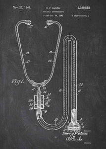 stethoscope patent print, stethoscope poster perfect for doctors office decor. shown in the stlye chalkboard